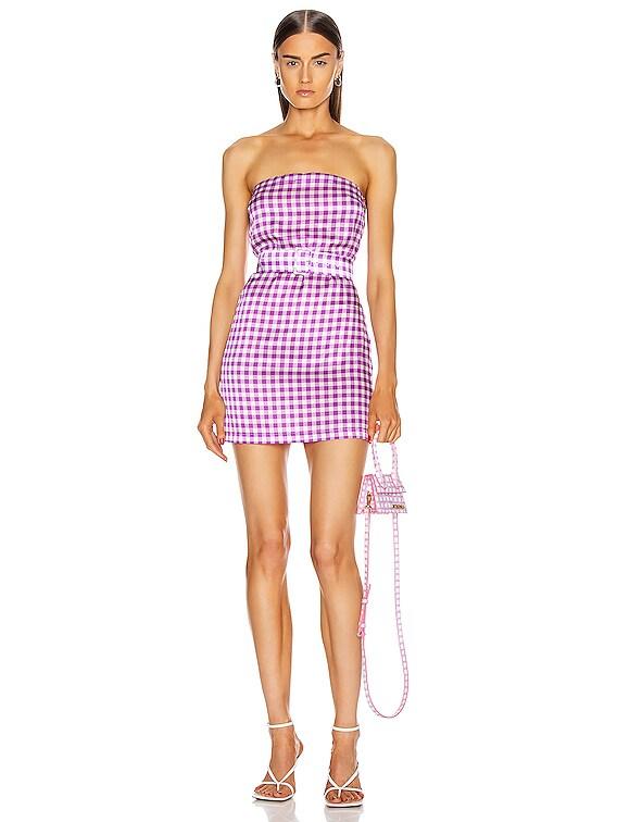 Carrie Mini Silk Satin Stretch Dress in Purple Gingham