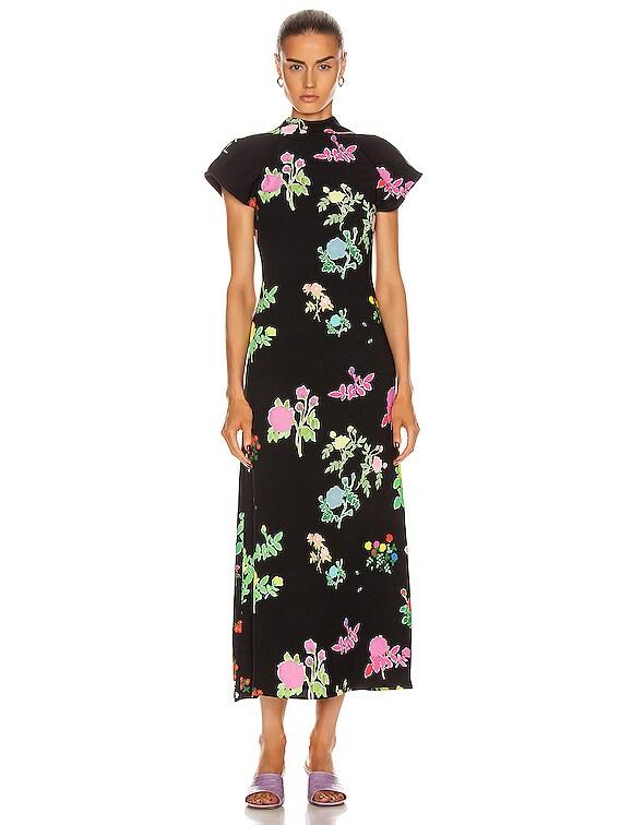 Valentine Crepe Dress in Multicolor Black