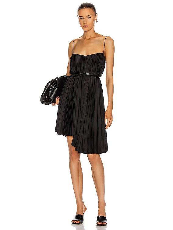 Pleated Mini Dress in Black