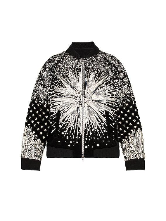 Embroidered Bomber Jacket in Noir & Argent