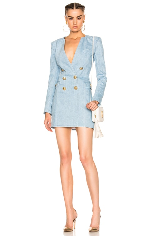 cheap prices closer at finest selection BALMAIN Double Breasted Mini Dress in Blue Jean   FWRD