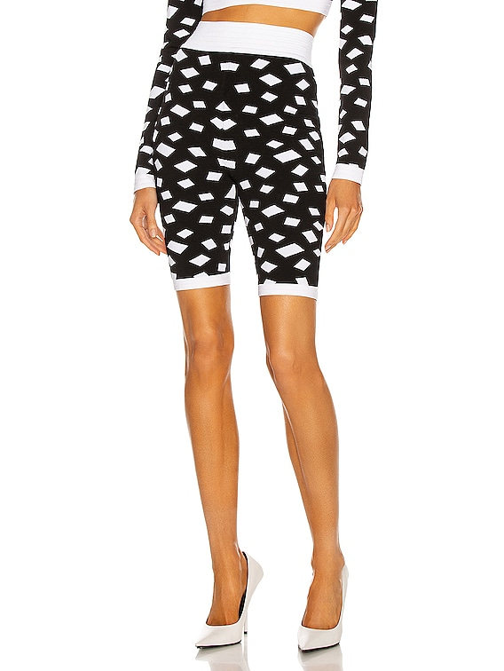 High Waisted Cycling Short in Noir & Blanc