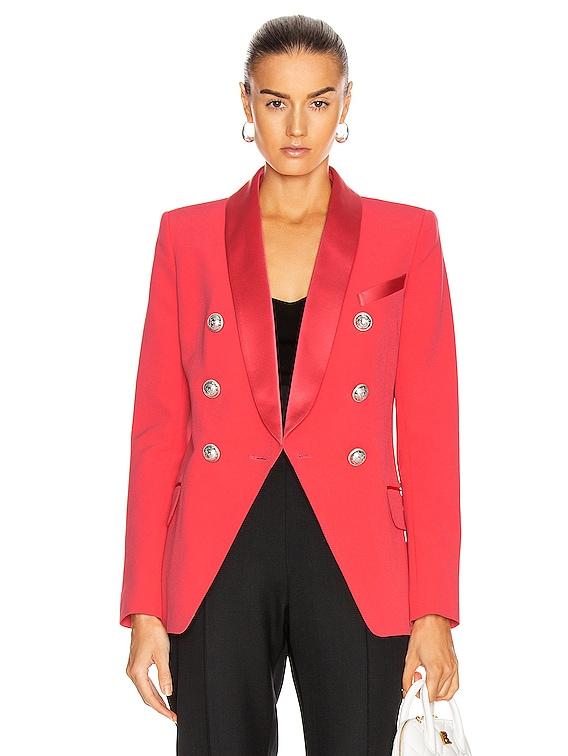 Oversized Satin Lapel Blazer Jacket in Dark Rose
