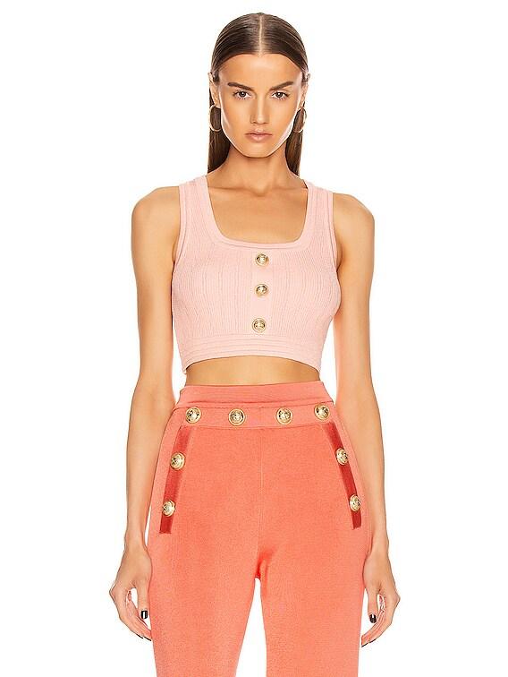 Button Crop Top in Rose