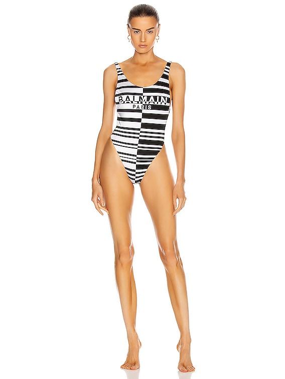 Horizontal Stripes Low-Cut Swimsuit in Black & White