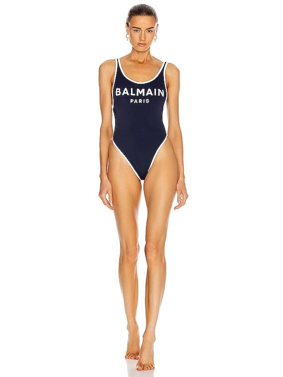 Low-Cut Swimsuit in Dark Blue