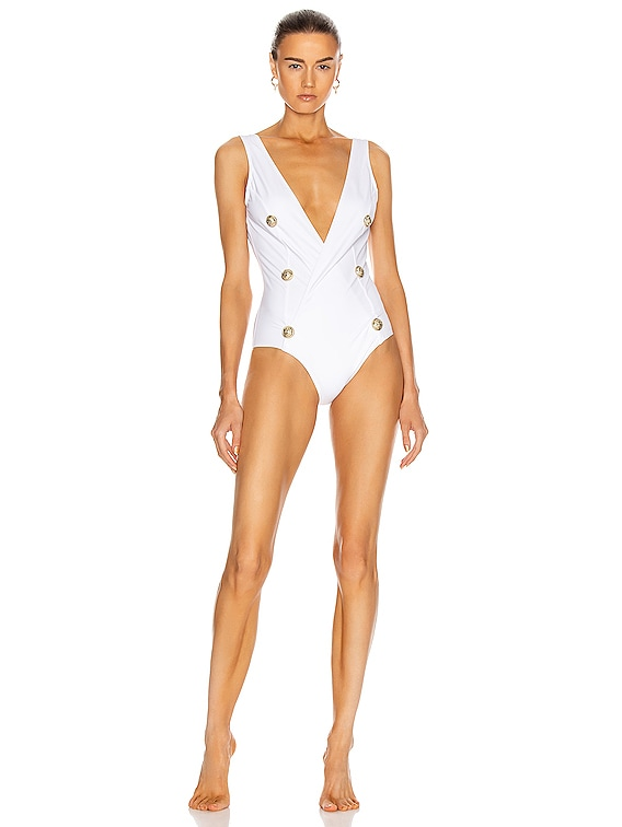 Buttons Swimsuit in White