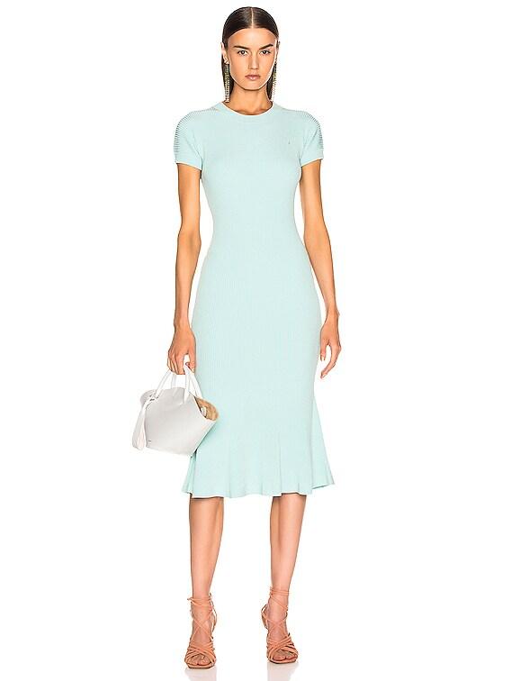 Shortsleeve Knit Fit & Flare Dress in Aqua Blue
