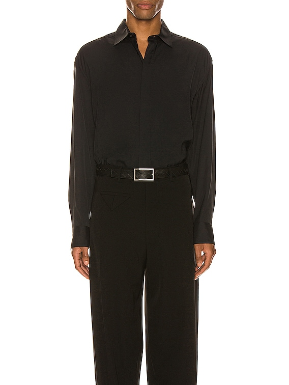 Button Up Long Sleeve Shirt in Nero
