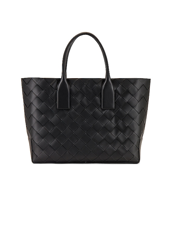 Intreccio Tote Bag in Black & Black Silver
