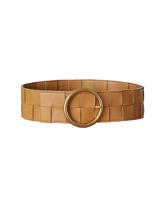 Leather Woven Belt in Carmello & Gold