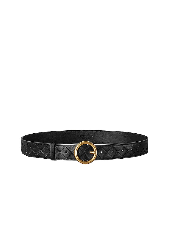 Leather Belt in Black & Gold