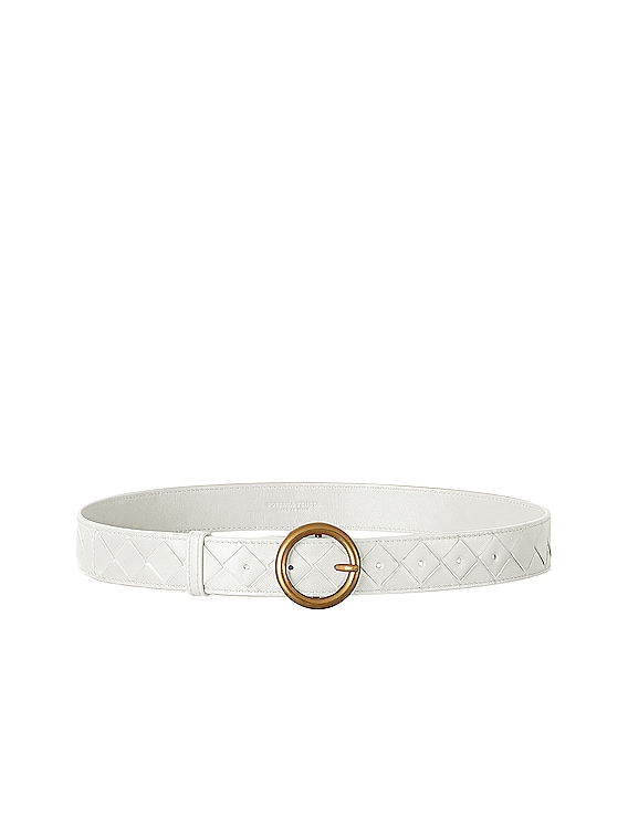 Leather Belt in White & Gold