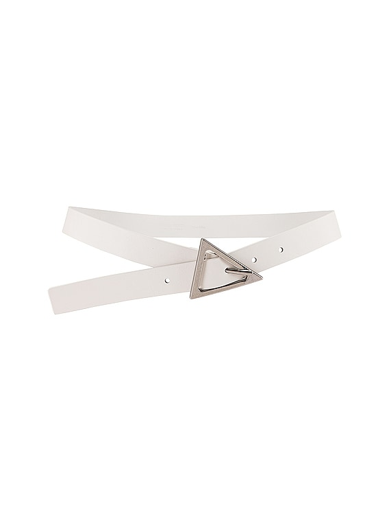 Leather Belt in White & Silver