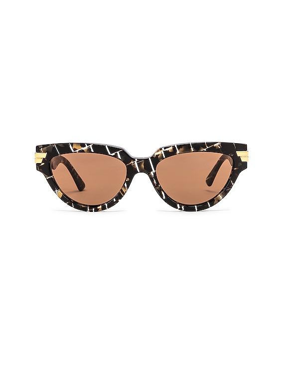 Intrecciato Cat Eye Sunglasses in Havana & Brown