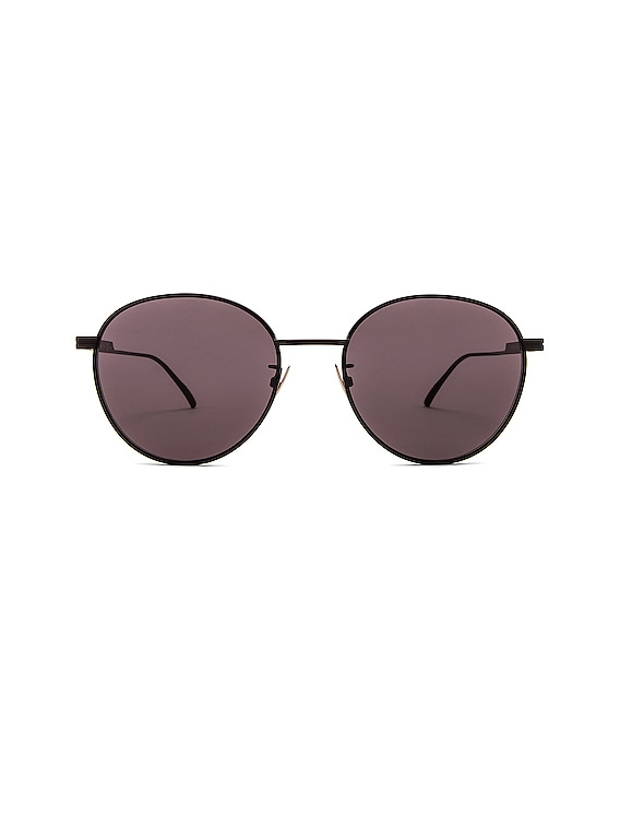 Metal Round Sunglasses in Semimatte Black