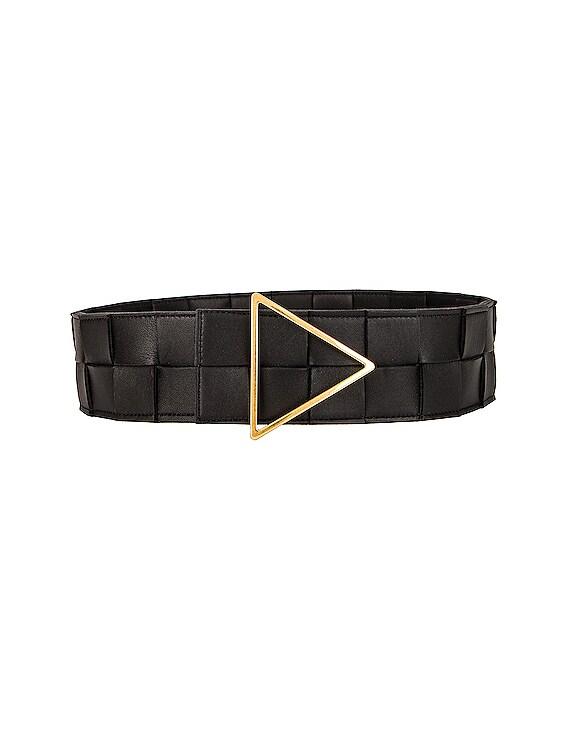 Maxi Intreccio Belt in Black & Gold