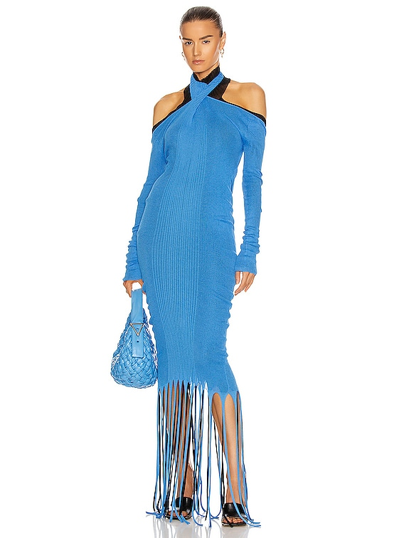 Rib Fringe Cold Shoulder Dress in Swimming Pool & Black