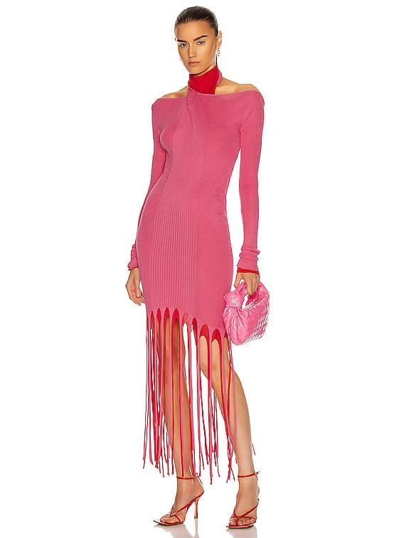 Rib Fringe Cold Shoulder Dress in Candyfloss & Fire Engine