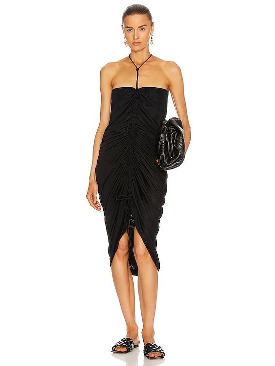 Ruched Midi Dress in Nero