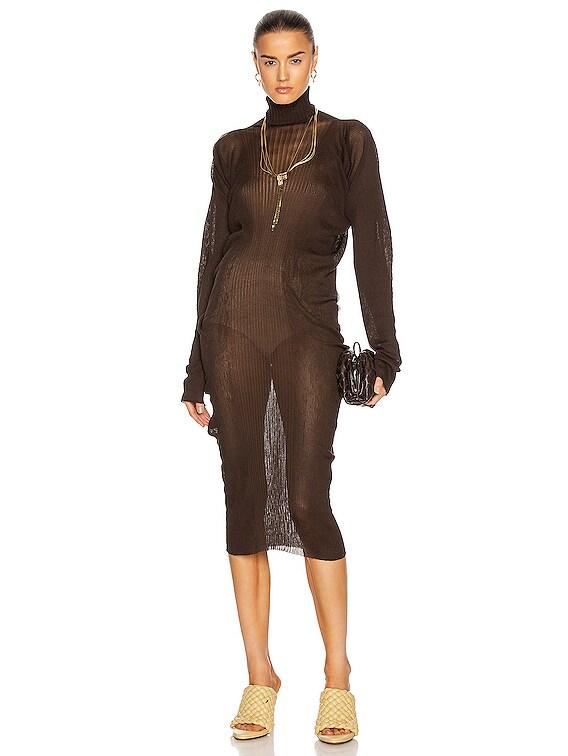 Rib Turtleneck Midi Dress in Bark