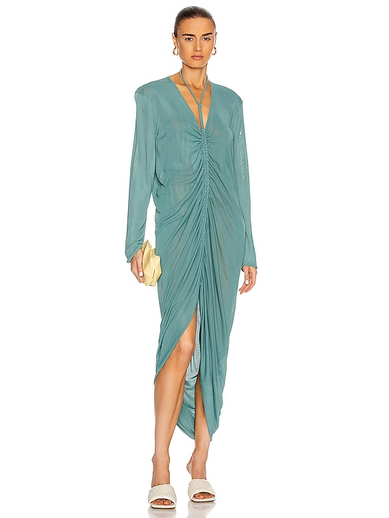 Long Sleeve Ruched Dress in Storm