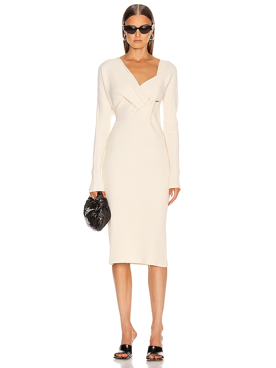 Knit Midi Dress in Off White