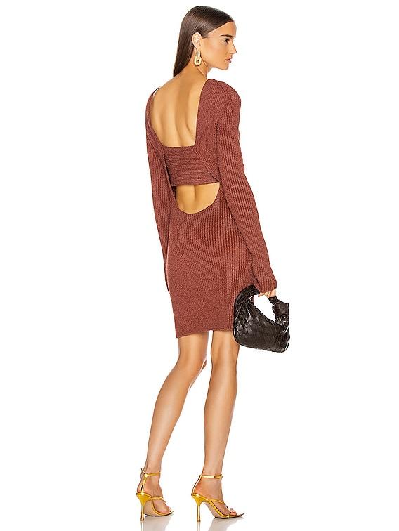 Rib Long Sleeve Dress in Rust
