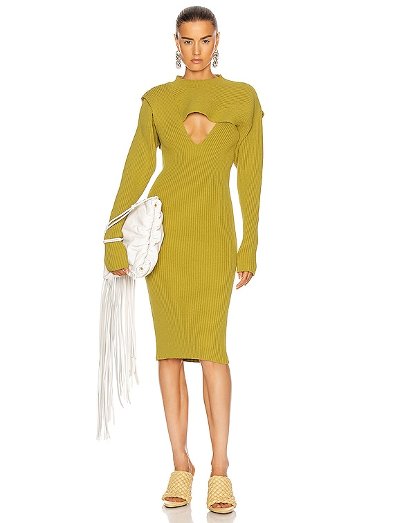 Rib Midi Dress in Pear