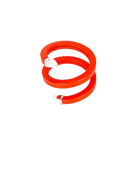 Leather Snake Bracelet in Orange