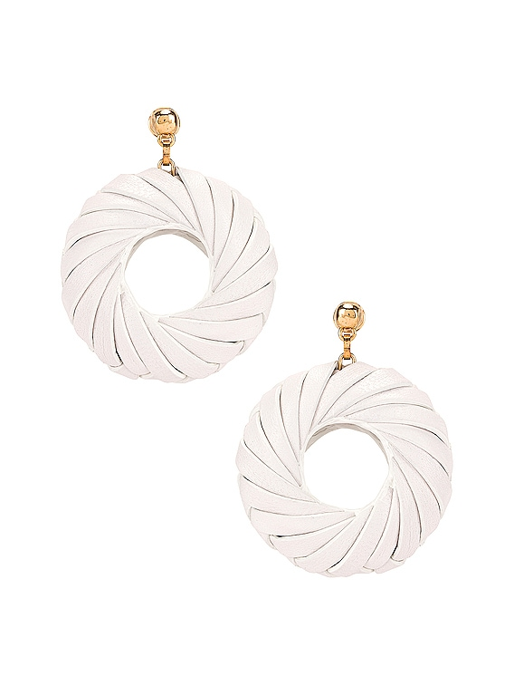 Leather Circle Earrings in White