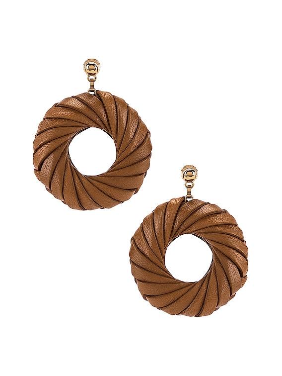 Leather Circle Earrings in Caramel