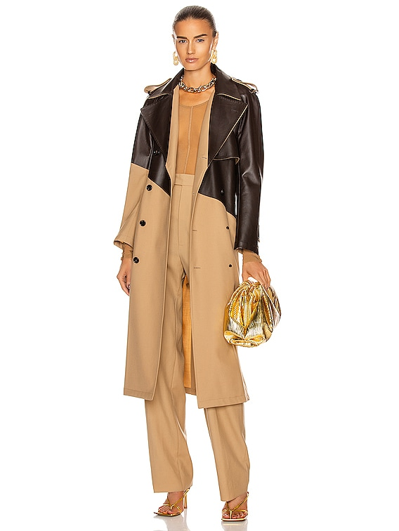 Colorblock Belted Trench Coat in Camel