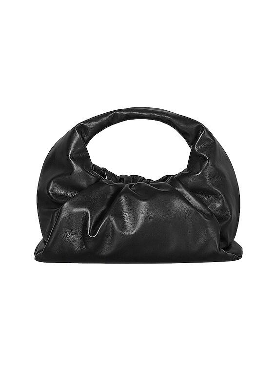 Leather Shoulder Bag in Black & Silver