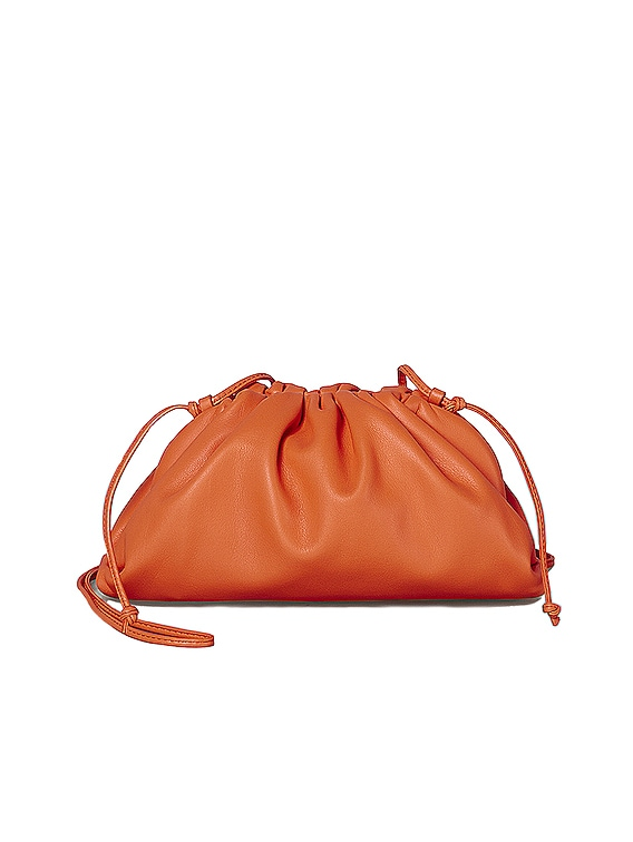 Mini Leather Pouch Clutch Crossbody Bag in Light Orange & Gold