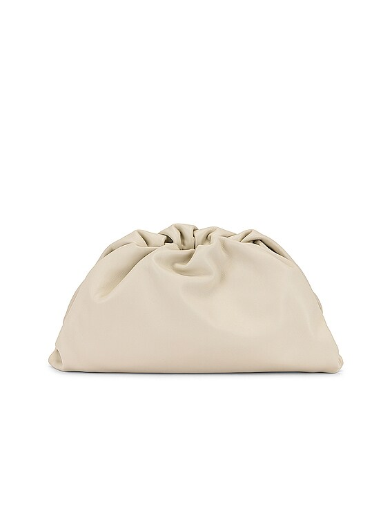 Leather Pouch Clutch in Plaster & Gold