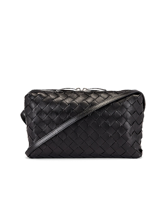 Leather Woven Crossbody Bag in Black & Silver