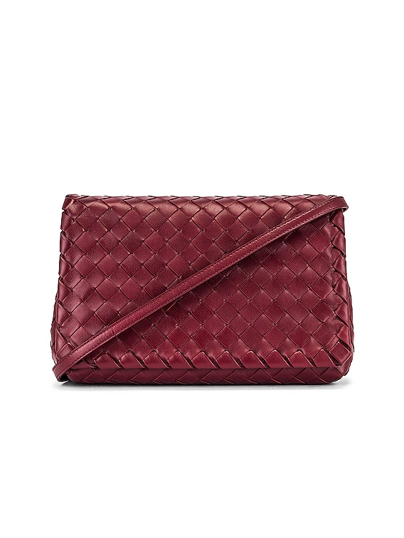 Leather Woven Crossbody Bag in Bordeaux & Gold