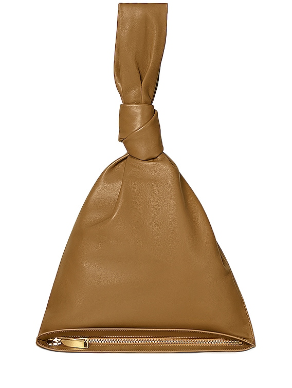 Leather Knot Bag in Caramel & Gold