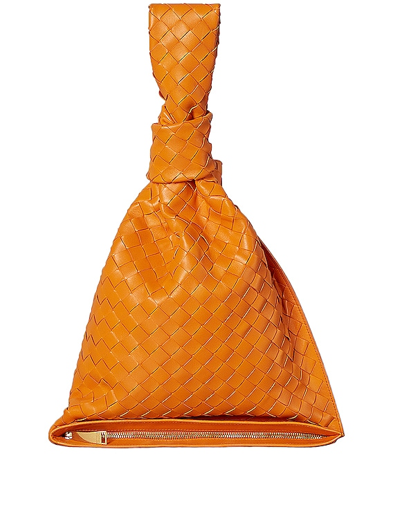 Leather Woven Knot Bag in Light Orange & Gold