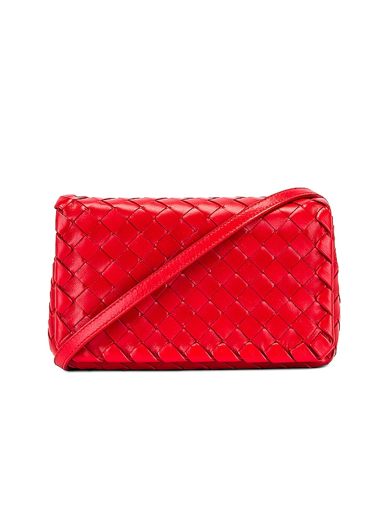 Leather Woven Crossbody Bag in Bright Red