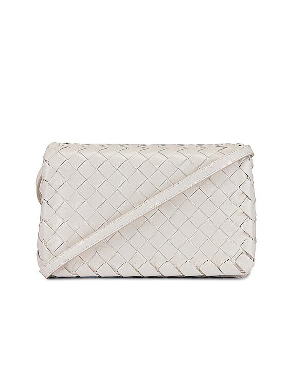 Leather Woven Crossbody Bag in White & Gold