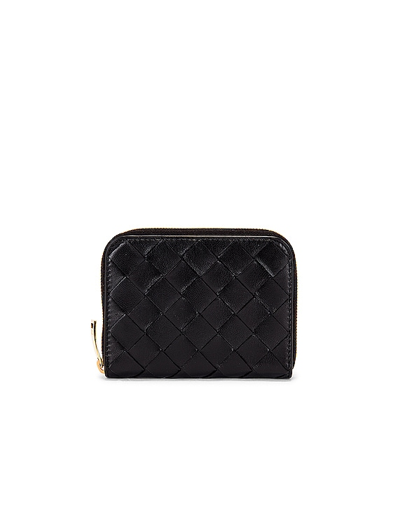 Leather Woven Zip Around Wallet in Black & Gold