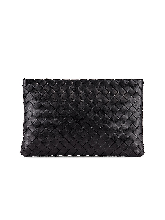 Leather Woven Pouch in Black & Silver