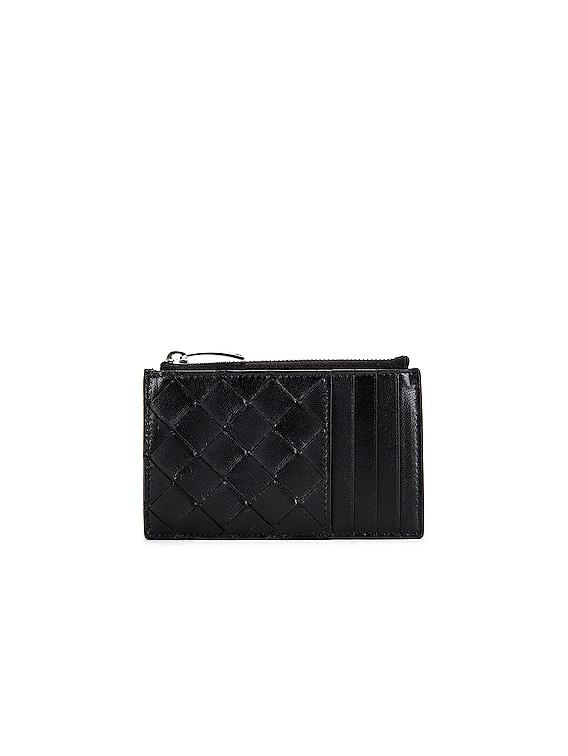 Leather Woven Long Card Case Wallet in Black & Silver