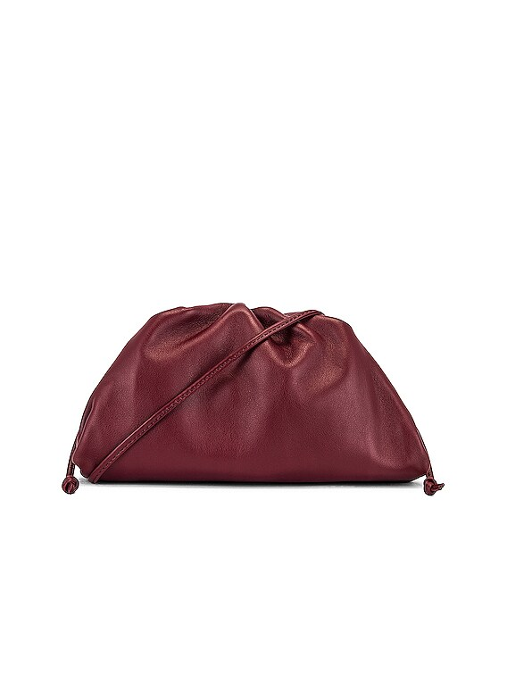 Mini Leather Pouch Clutch Crossbody Bag in Bordeaux & Gold