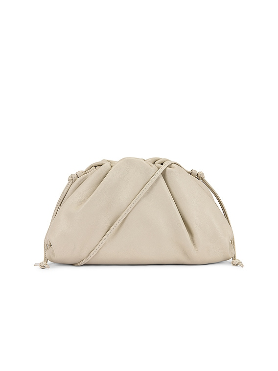 Mini Leather Pouch Clutch Crossbody Bag in Plaster & Gold