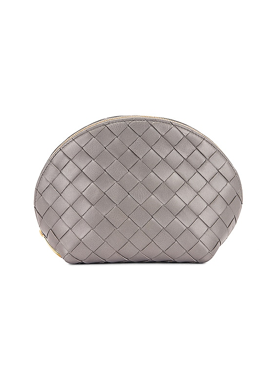 Leather Woven Cosmetic Case in Concrete & Gold