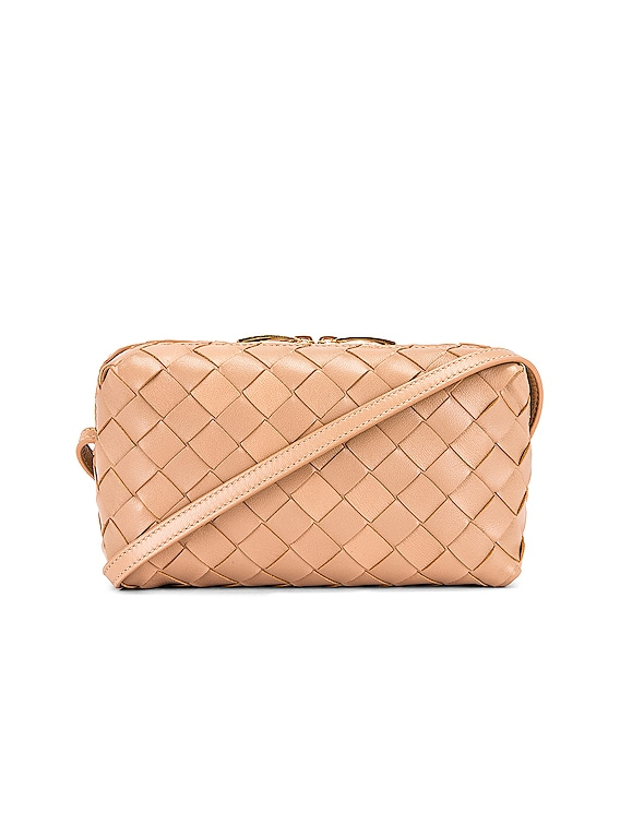 Leather Woven Crossbody Bag in Cipria & Gold