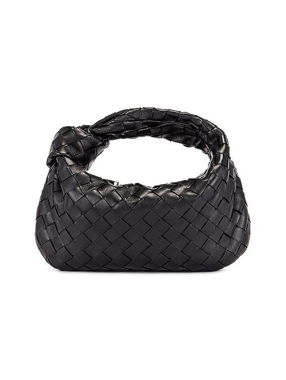 Leather Woven Shoulder Bag in Black & Gold